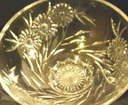 Crystal Floral Serving Bowl Heavy Beautiful Large AA19-LD11935 Vintage image 4