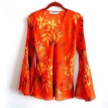 Orange Flowing Chiffon Floral Bell Sleeve Blouse Versailles New York Sz.... - $18.32
