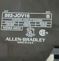 ALLEN-BRADLEY 592-JOV16 SER. B OVERLOAD RELAY 3POLE, 120-600VAC, 592JOV16 image 3