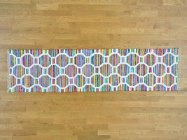 "2'7""x10'2"" Colorful Flat Weave Kilim Runner Cotton and Sari Silk Rug G29853 - $109.04"