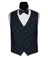Black Watch Holiday Tartan Plaid Tuxedo Vest and Bow Tie - $139.50