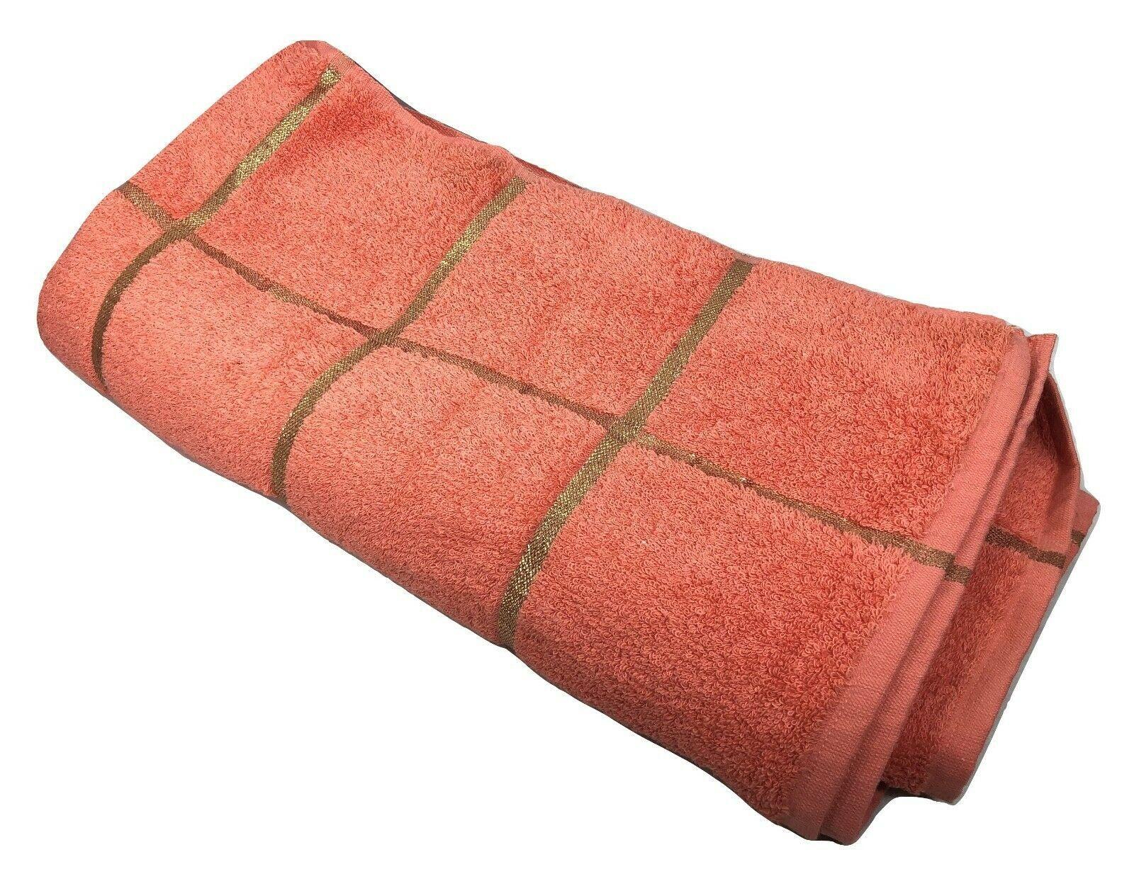 "Martex Bath Towel 72""x36"" Salmon Color with Gold Highlights Vintage Retro NEW - $64.35"
