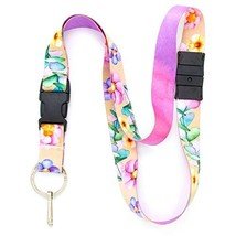 Buttonsmith Watercolor Flowers Breakaway Lanyard - with Buckle and Flat ... - $12.86