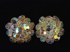 Vintage Clip On Earrings Glass Bead Iridescent Costume Fashion Jewelry - $10.66