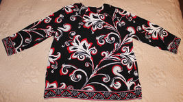 BEAUTIFUL 3/4 SLEEVE BLACK WHITE RED FLOWING TOP BLOUSE SEQUINS NECK S M image 6