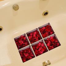 PAG 6pcs 13x13cm Rose Leaf Pattern 3D Anti Slip Waterproof Bathtub Sticker - $19.30