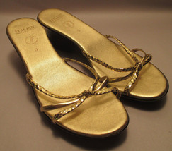 Gold Sandals Italian VGUC Shoemakers sz Wedge Womens run Heel small Slip On 9 qYHaq