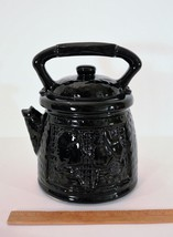 Vtg Ameican Bisque Black 'Cast Iron' Tea Coffee Pot Colonial Couple Cook... - $34.00