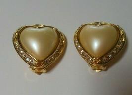 Vintage Signed Joan Rivers Faux Pearl & Rhinestone Heart Clip On Earrings - $44.55