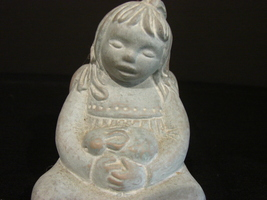 Isabel Bloom Girl Angel Holds Rabbit Figurine 1995 Signed - $15.99