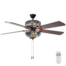 "River of Goods Tiffany Style 52"" Stained Glass LED Ceiling Fan + Remote ... - €283,49 EUR"