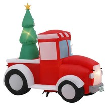 7 ft. Pre-Lit  Life Size Airblown Inflatable Santa in Vintage Truck Scene - $179.03