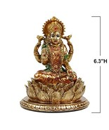 "6.3""H Lakshmi On Lotus Polystone in Antique Gold, lndian Laxmi Statue Hi... - $19.44"
