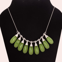 Turkey Green Chalcedony Sterling Silver Necklace Bohemian Retro Fashion ... - $56.26