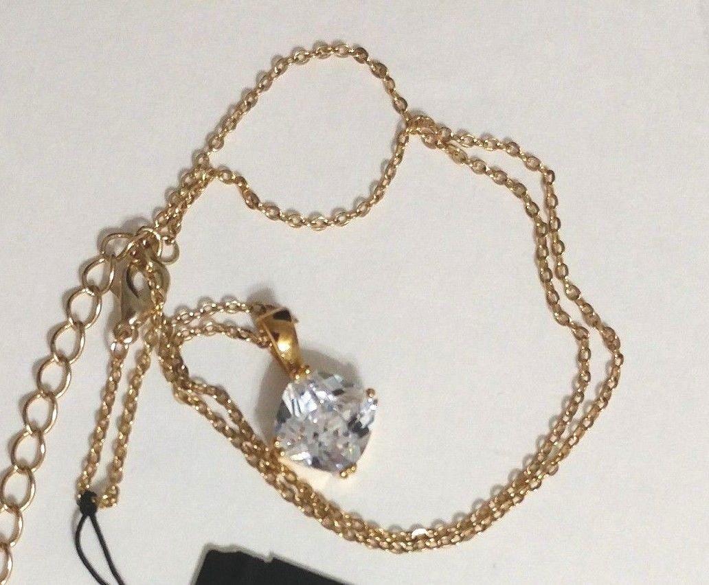 "Cookie Lee Pendant Necklace Genuine Cubic Zirconia Square 6 Ct 18"""