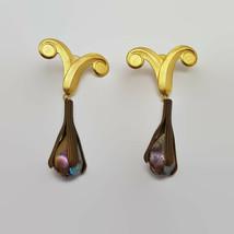 Vintage Kate Hines Matte Gold Tone Purple Bead Runway Earrings  - $47.53