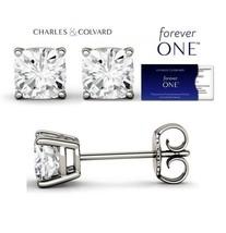 0.75 Carat Cushion Moissanite Forever One Studs 14K Gold (Charles & Colv... - $319.00