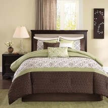 7pc Green & Dark Brown Embroidered Comforter Set AND Decorative Pillows - $2.920,88 MXN+