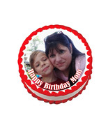 Custom photo round edible party cake topper cake image - $7.80