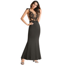 AOVEI Black Lace Sexy Backless Bodycon Wrap Night Out Long Maxi Evening Dress - $29.99