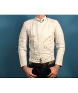 White  Leather Motorcycle Jacket - Garsel, Size 34 - $194.95