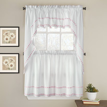 Daisy Mae Floral Kitchen Window Curtain Tier Pair, Valance or Swag Pair Pink - $13.99+