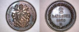 1850-IVR Italian States Papal States 2 Baiocchi World Coin - Pius IX - $249.99