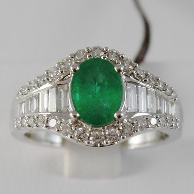 18K WHITE GOLD BAND RING WITH BAGUETTE DIAMONDS & OVAL EMERALD MADE IN ITALY