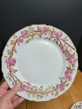 GD&C Limoges Dinner Plate Pink Floral Gold Trim France - $9.89