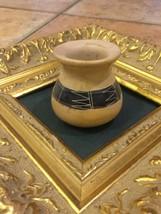 ART POTTERY MATCH TOOTHPICK HOLDER SEED VASE SMALL SOUTHWEST DESIGN HEAV... - $18.00