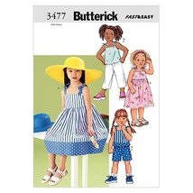 Butterick Patterns B3477 Children's Dress, Top, Short & Pants, Size 6-7-8 - $14.70
