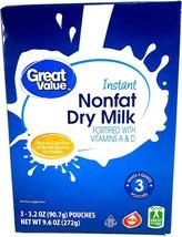 Great Value Instant Nonfat Dry Milk 3 - 3.2 oz. Pouches Makes 3 qts. - $17.00