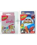 Combo Barbie + Marvel Spiderman UNO Card Games Brand new sealed Original... - $20.99