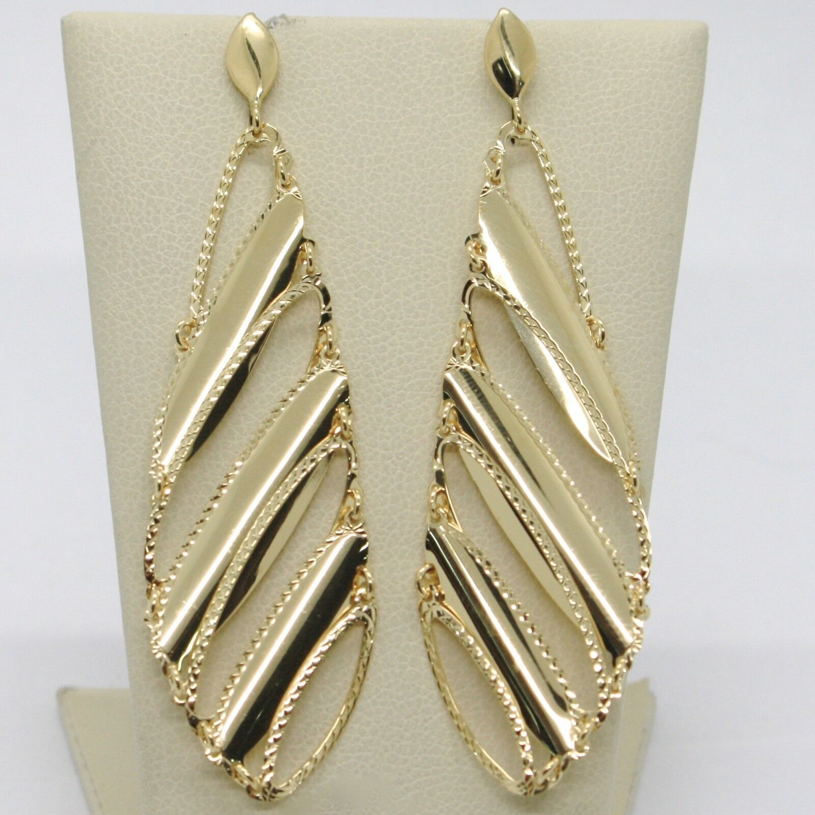 SOLID 18K YELLOW GOLD LONG PENDANT EARRINGS FINELY WORKED DROPS, MADE IN ITALY