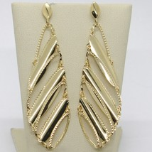 SOLID 18K YELLOW GOLD LONG PENDANT EARRINGS FINELY WORKED DROPS, MADE IN ITALY image 1
