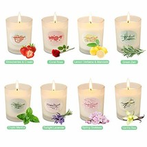 YMING Scented Candles Set of 8, Natural Soy Wax Frosted Glass Aromathera... - $19.44