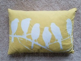 "Newport Yellow Pillow White Birds on Tree Branch Reversible 12"" x 19"" - $9.99"