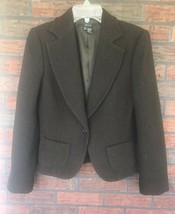 Black Wool Blend Blazer EUR Size 40 USA Size 8 Vintage Zara Basic Should... - $34.30