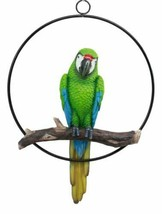 Great Green Macaw Parrot Perching on Branch Home Patio Hanging Decor Fig... - $36.99