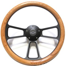 Chevy Hot Rod Rat Rod Street Rod Oak & Billet Steering Wheel for Ididit Columns - $144.99