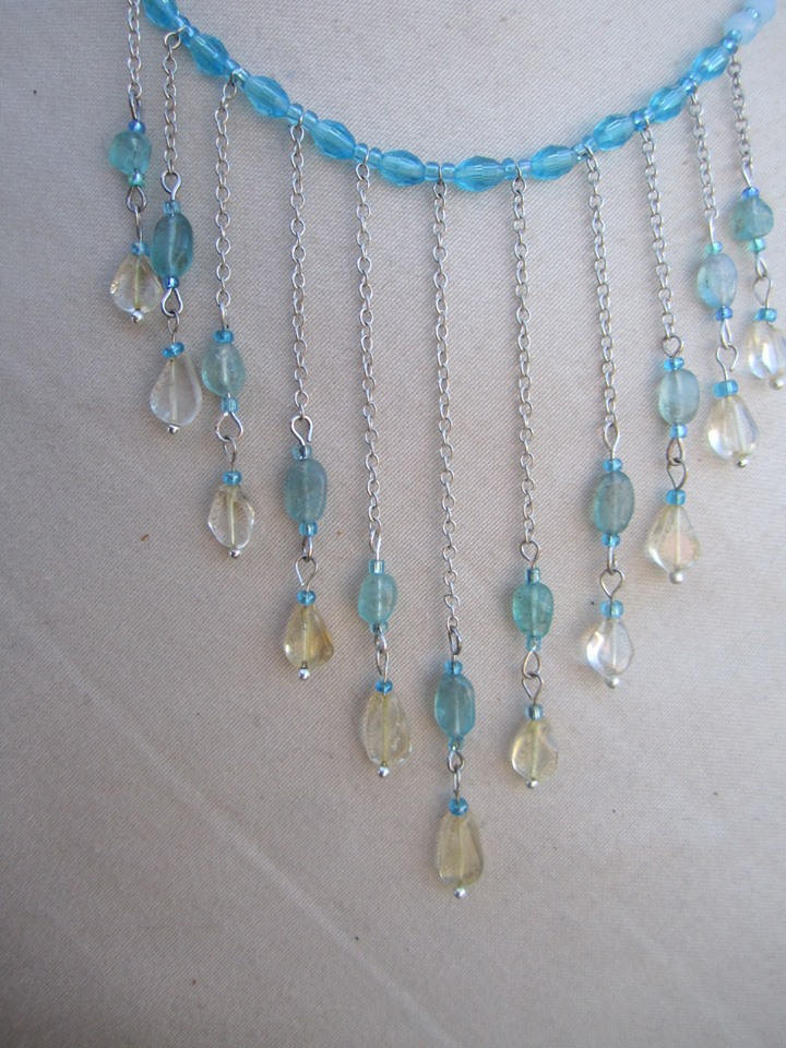 Citrine and Apatite  gemstone choker set