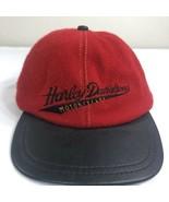 VTG Harley Davidson Leather Strapback Hat Wool Biker Trucker Made USA 6 ... - $24.99
