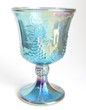 Indiana Harvest Blue Carnival Glass Goblet Iridescent Grapes Leaves Vintage - $9.95