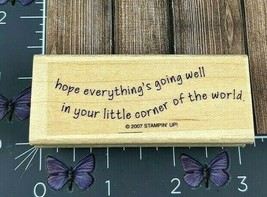 Stampin' Up! Hope Everything's Going Well Corner World Rubber Stamp 2007... - $4.46