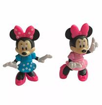 Minnie Mouse Disney Junior Figure Lot 2 Toy Cake Topper Polka Dot Dress - $11.87