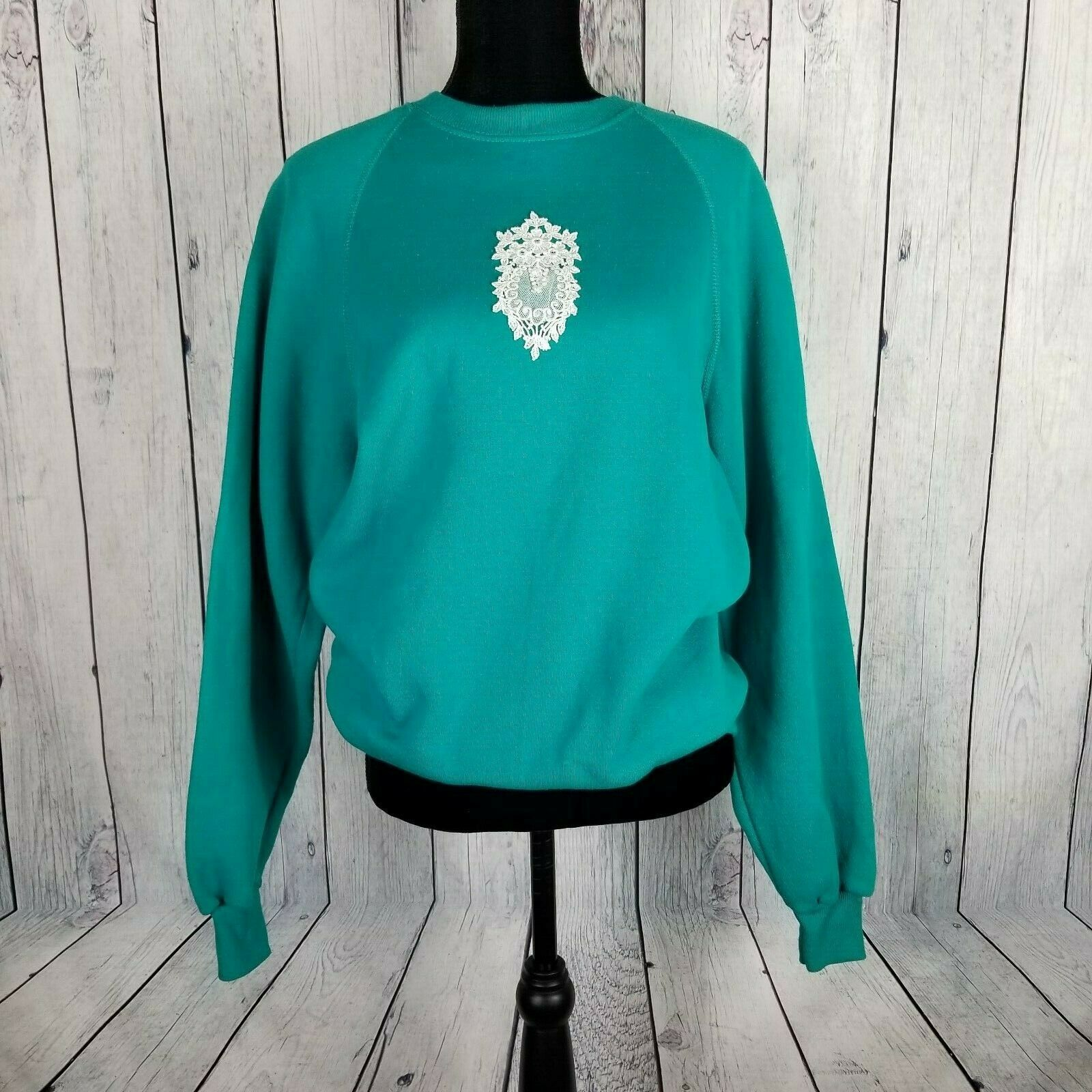 Sturdy Sweats By Lee Teal Textured Sweatshirt Large Vintage Lace Applique image 2