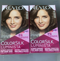 2x Revlon Colorsilk Luminista 115 Medium Brown Ammonia-Free Permanent Ha... - $19.75