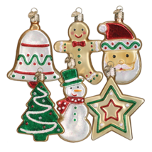 Old World Christmas Set Of 6 Assorted Sugar Cookie Glass Xmas Ornaments 32183 - $59.88