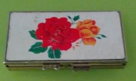 (B25) VINTAGE Metal Pill Box w/ Clasp; ROSES FLOWERS Motif - $14.85