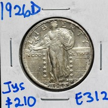 1926D Standing Liberty Silver 25¢ Quarter Coin Lot E 312